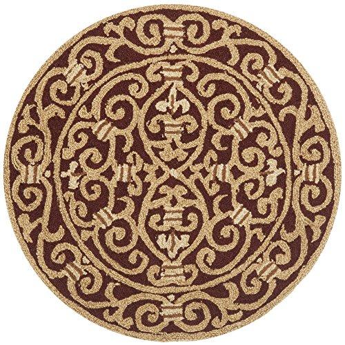Safavieh Chelsea Collection HK11C Hand-Hooked Burgundy Premium Wool Round Area Rug (3' Diameter)