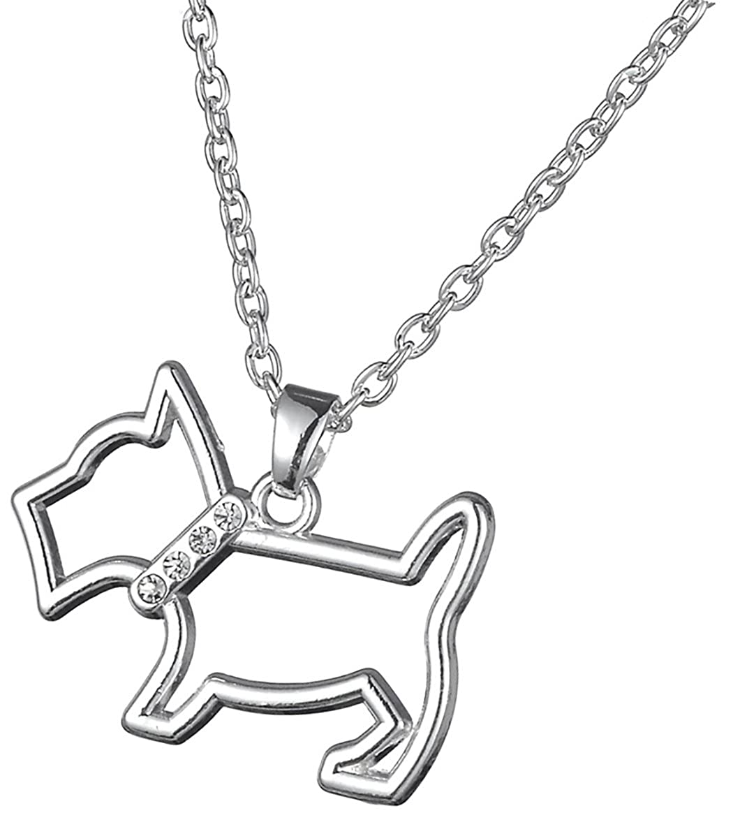 Animal Joyería Forma de Perro Escocés hueca colgante de cristal collar para perro persona Regalo BiChuang