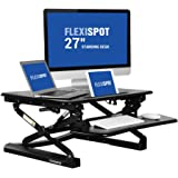 "FlexiSpot 27"" wide Stand Up Desk with wider keybaord tray - M1B Height-Adjustable Standing Desk Riser (S-Size-Black)"