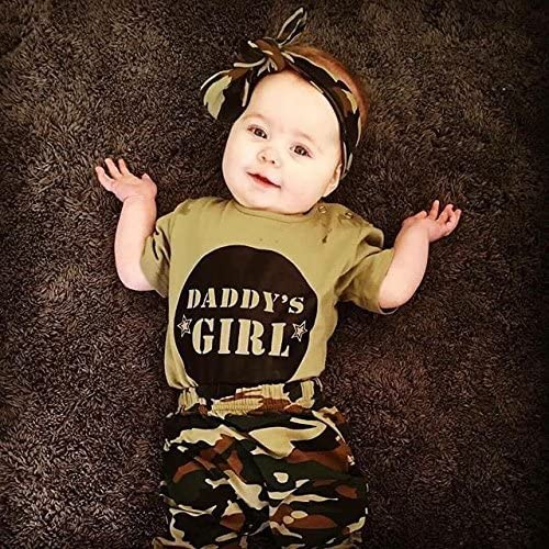 6-12 months, Girls Newborn Baby Boy Girl Daddy/'s Baby Boy Girl Camouflage Short Sleeve T-shirt Tops+Green Long Pants// Trousers Camo Casual Outfit Set