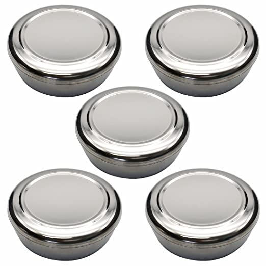 Korean Traditional Stainless Steel Good Fortune Rice Bowl with Lid Set (Silver 5Pcs)