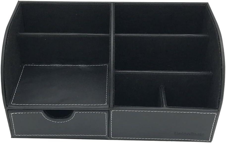 Unionbasic multifunzionale organizer da scrivania ufficio in pelle biglietti da visita//penna//matita//cellulare//cancelleria Holder Storage box moderno Black