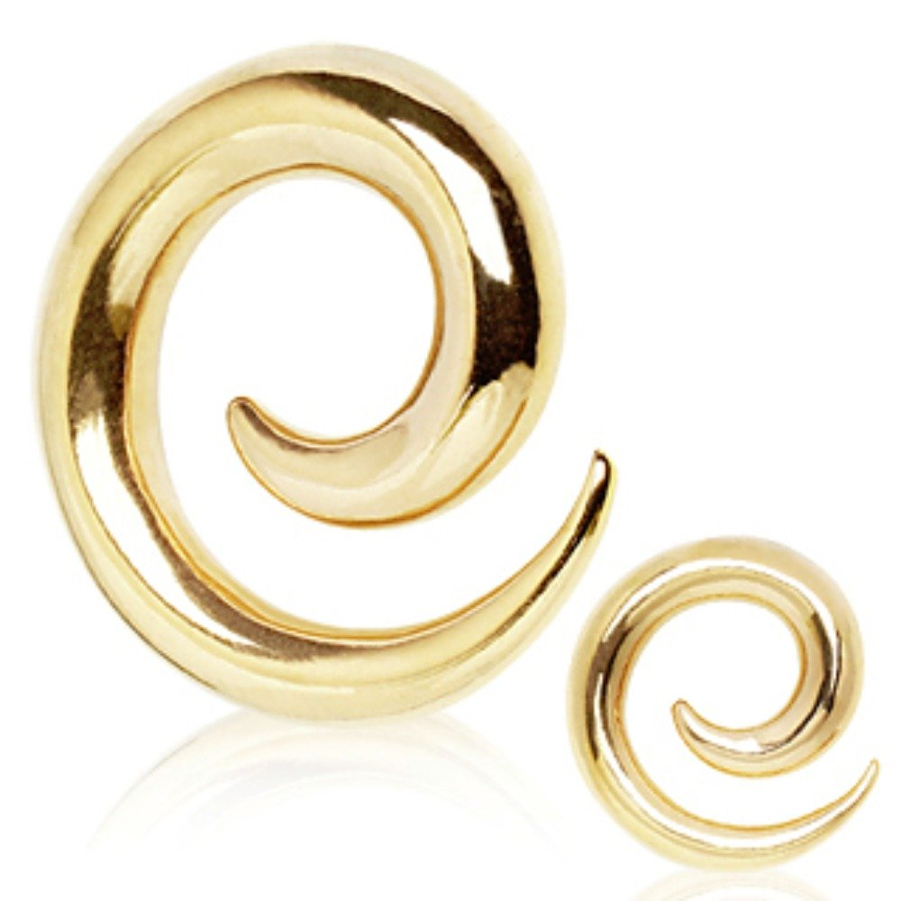 WildKlass Jewelry Gold Plated 316L Surgical Steel Spiral Taper