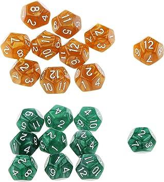 SM SunniMix 20 Piezas D12 Dados para Juegos de Mesa Tablero Table Games - Chocolate + Verde: Amazon.es: Juguetes y juegos