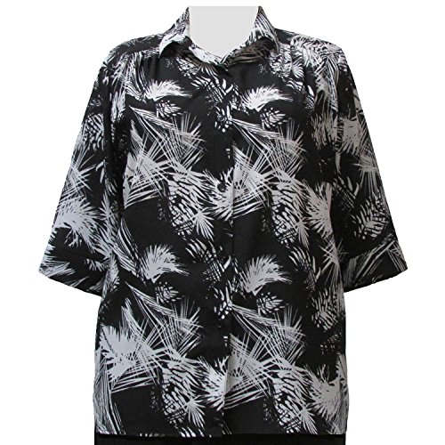 A Personal Touch Women's Plus Size Black & White Palms 3/4 Sleeve Button-Down Blouse with Shirring - 6X
