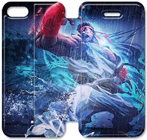 Flip étui en cuir PU Stand pour Coque iPhone 5 5S, bricolage 5 cas de téléphone cellulaire 5S Ryu de Street Fighter Tekken W4F1WR Jolie Coque iPhone étuis en cuir