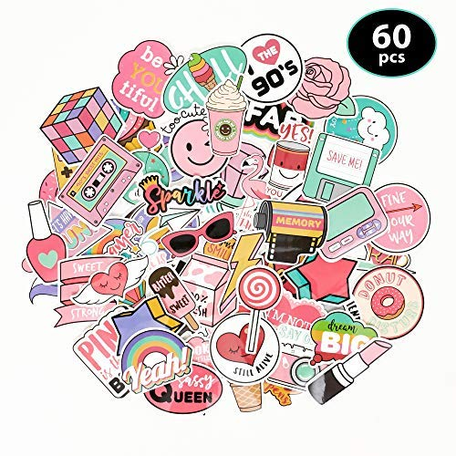 Novely - Vinyl Sticker Decal Set - Great for Water Bottles, Phone Cases, Skateboards, Guitars, and Much More! - Waterproof & Easily Removeable - 60 Piece Set