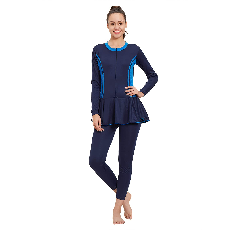 LIMEE Womens Bodysuit Full Sleeves Swimsuit (Black & Blue)