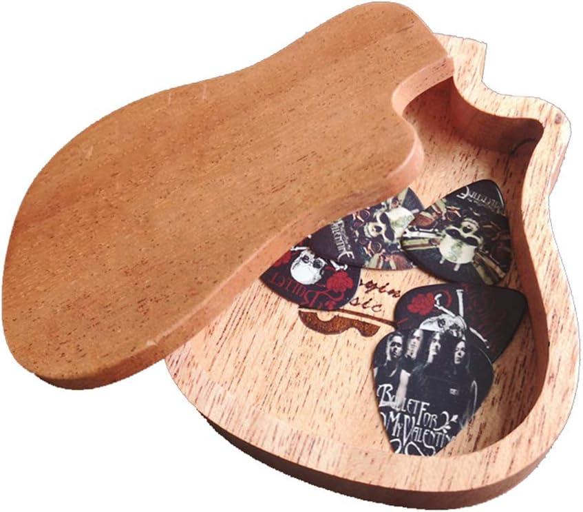 GAOJIAN Caja de Púas de Guitarra de Madera Caja de Almacenamiento de Modelos de Guitarra acústica con Tapa y púas 2 al Azar