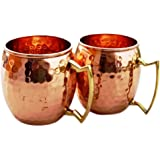 Moscow Mule Hammered Pure Copper Mugs / Cup, 100% Pure Copper with Brass Handle, 16 Ounce, Set of 2