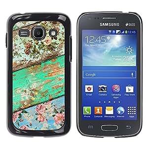 TopCaseStore / la caja del caucho duro de la cubierta de protección de la piel - Wood Texture Green Floral Pattern - Samsung Galaxy Ace 3 GT-S7270 GT-S7275 GT-S7272