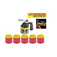 ROTHENBERGER Industrial Lötlampe / Lötbrenner / Bunsenbrenner im Set mit 5 x Gaskartusche C200