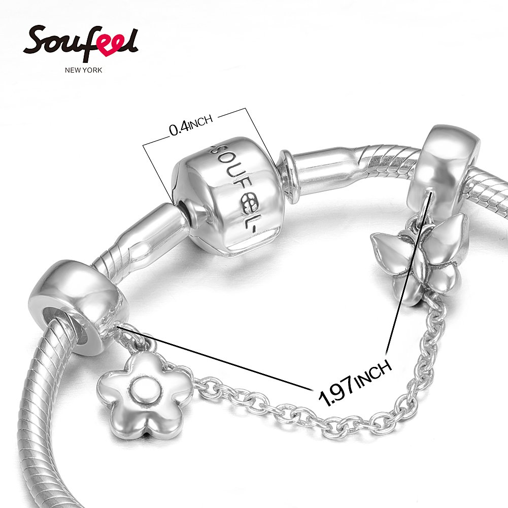 SOUFEEL ''Happy Birthday'' Bracelet 925 Sterling Silver Charm Bracelets 9.1 Inch With Safety Chain Birthday Gift by SOUFEEL (Image #3)