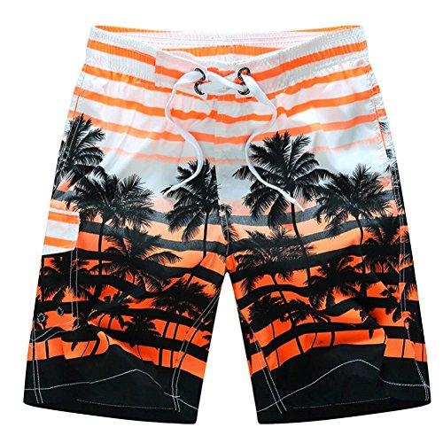 Zainafacai Fashion Coconut Printed Beach Pants-Men's Summer Beachwear Quick Dry Striped Board Shorts Plus Size (Orange, L)
