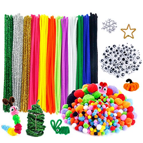 5 Mm Silver Rhinestone - Caydo 600 Pieces Pipe Cleaners Set, Including 120 Pieces 12 Colors Pipe Cleaners, 360 Pieces 6 Size Pom Poms and 120 Pieces 4 Size Wiggle Googly Eyes for Craft DIY Art Supplies