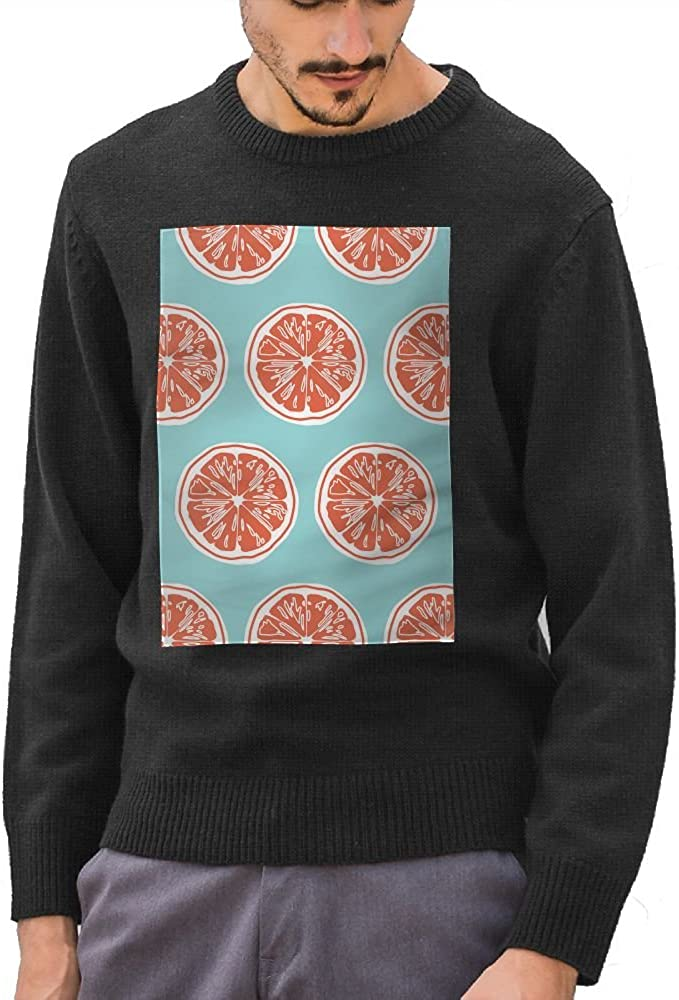 Mr.Roadman Mens Grapefruit Funny Pattern DIY Customized Print Fashion O-Neck Sweater Jumpers Pullover