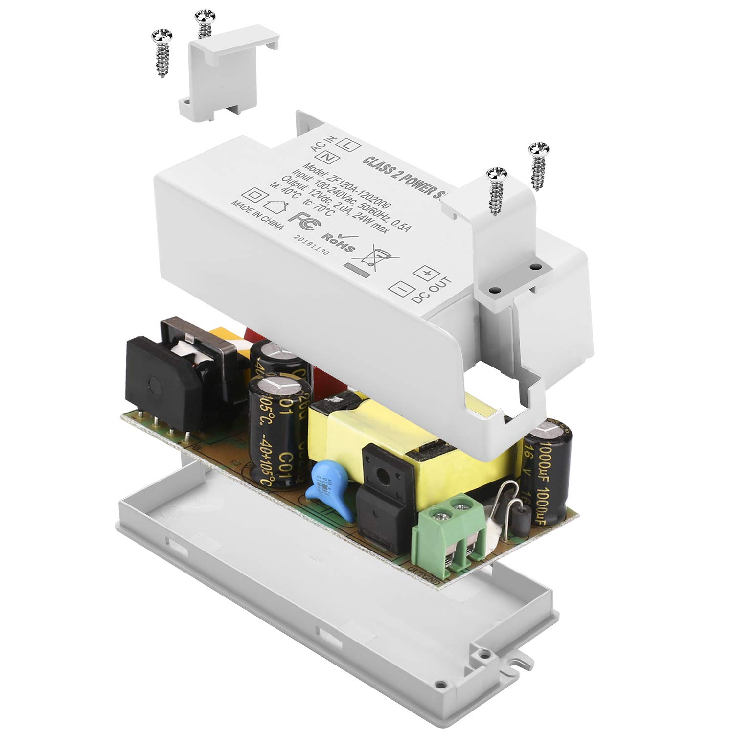 MR11 MR16 Light Bulbs COOLWEST Transformer Driver Power Supply 24W 12V for LED Strip Lights and G4