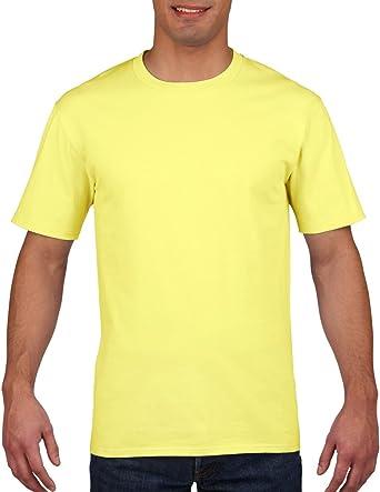 M Cornsilk Gildan Mens Premium Cotton Ring Spun Short Sleeve T-Shirt