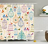 Ambesonne Vintage Decor Collection, Vintage Bird and Birdcases Collection Floral Love and Freedom Theme Illustration, Polyester Fabric Bathroom Shower Curtain, 75 Inches Long, Purple Green Blue