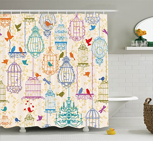 Ambesonne Vintage Decor Collection, Vintage Bird and Birdcases Collection Floral Love and Freedom Theme Illustration, Polyester Fabric Bathroom Shower Curtain Set with Hooks, Purple Green (Love Bird Collection)