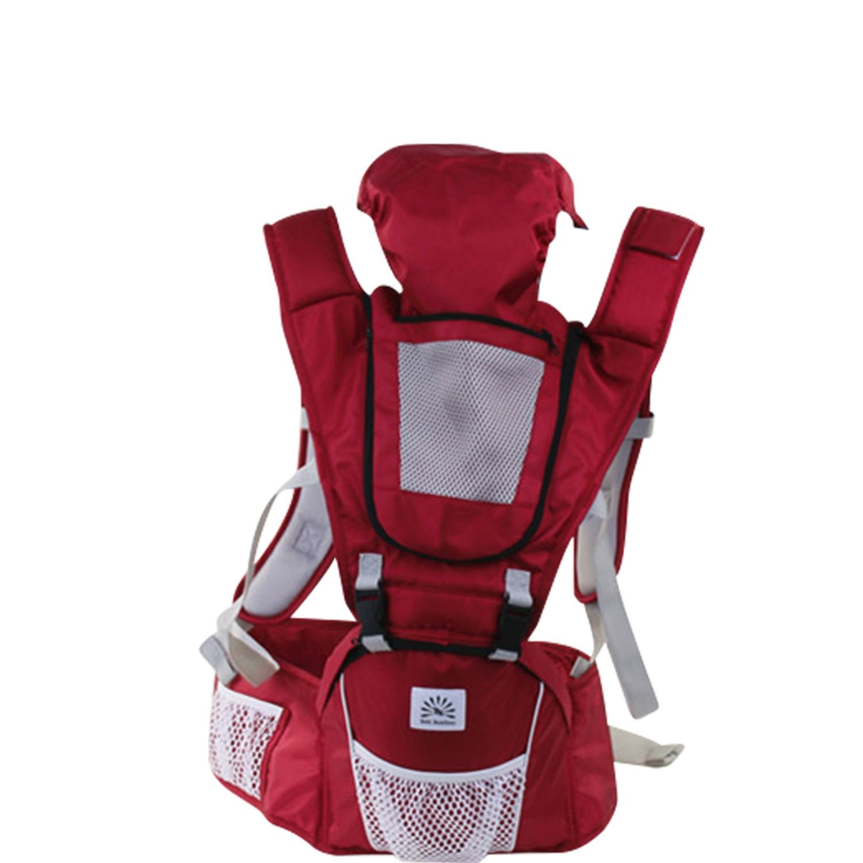 Babi Bambino Best New Baby Ergonomic Carrier Sling Soft Hip Seat Headphone Port and Hood Red