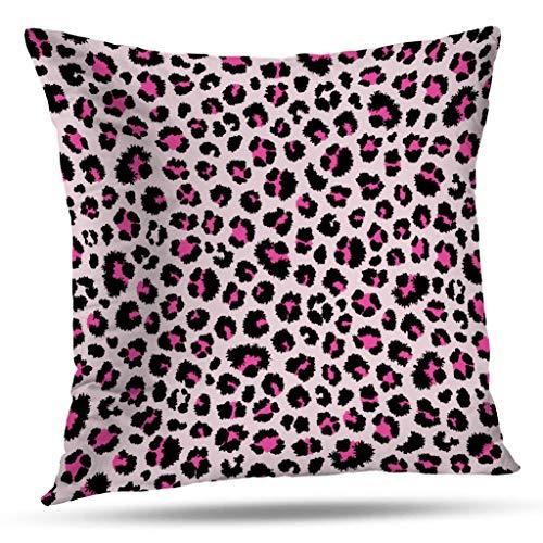 (Kutita Animal Print Decorative Pillow Covers, Leopard Animal Pink Purple Skin Abstract Black Cat Throw Pillow Decor Bedroom Livingroom Sofa 18X18 inch)