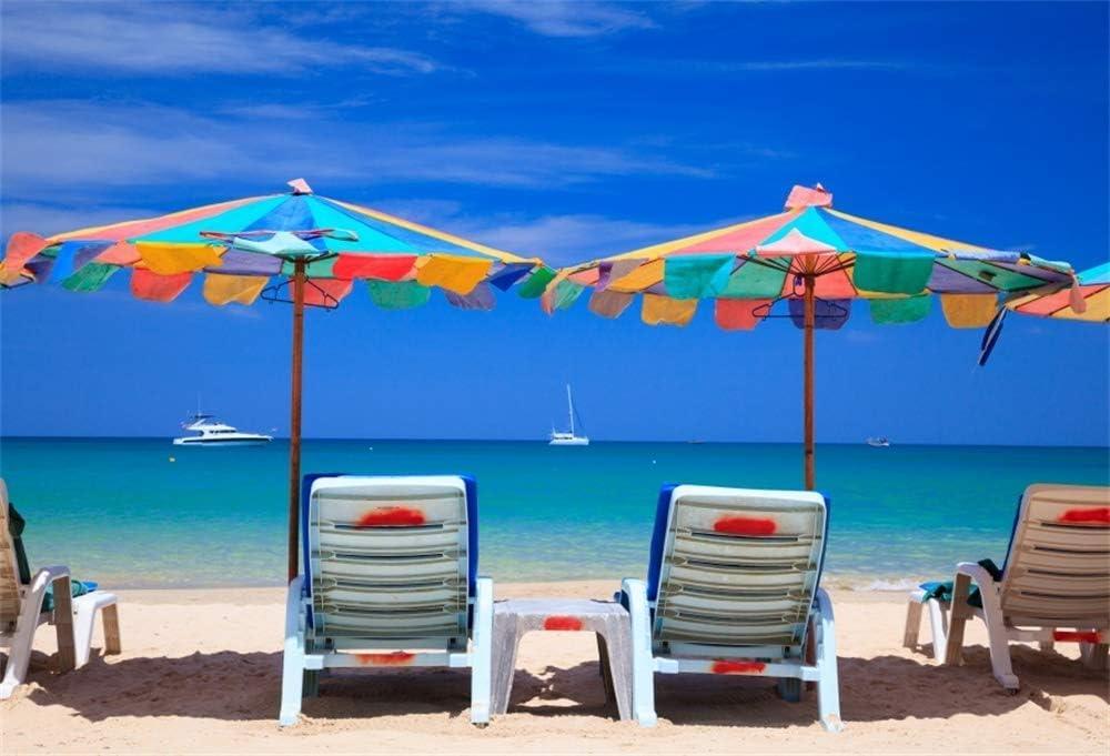 10x8ft Phuket Seaside Backdrop for Photography Beach Chair Parasol Ocean Sea Bay Island Blue Sky Background Vacation Resort Kids Adult Photo Booth Shoot Vinyl Studio Props