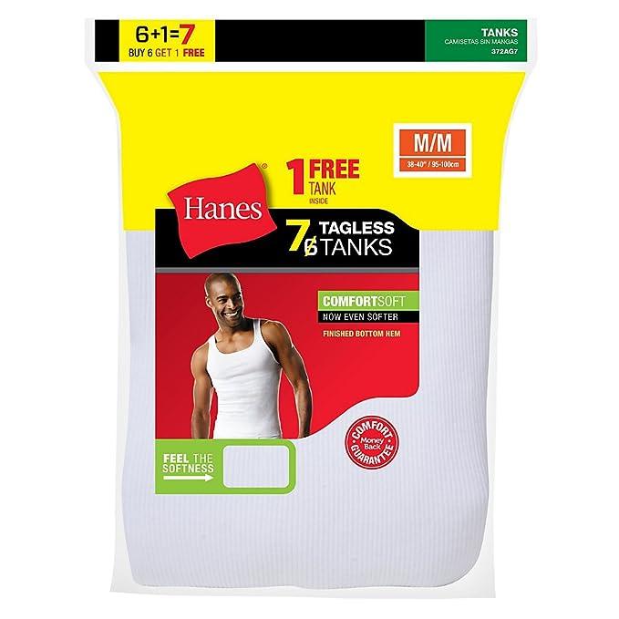 Hanes - Camiseta Interior - Sin Mangas - para Hombre Blanco