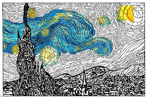 Personal Prints Van Gogh Starry Night Premium Giant Wall Size Adult Coloring Poster Page - 24x36in