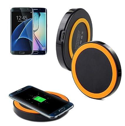 Samsung Galaxy S7 y Samsung Galaxy S7 Edge - Sannysis Qi Cargador Inalámbrico Wireless Pad de Carga Naranja