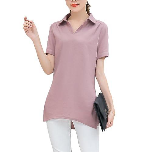 Mujeres Camiseta De Manga Corta De Cuello De Solapa De Color Puro Blusa Suelta Blusa