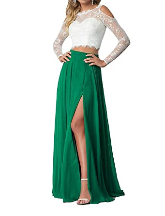 LUBridal Womens Two Pieces Lace Prom Dresses Long Sleeve 2018 Formal Evening Dress Green US2