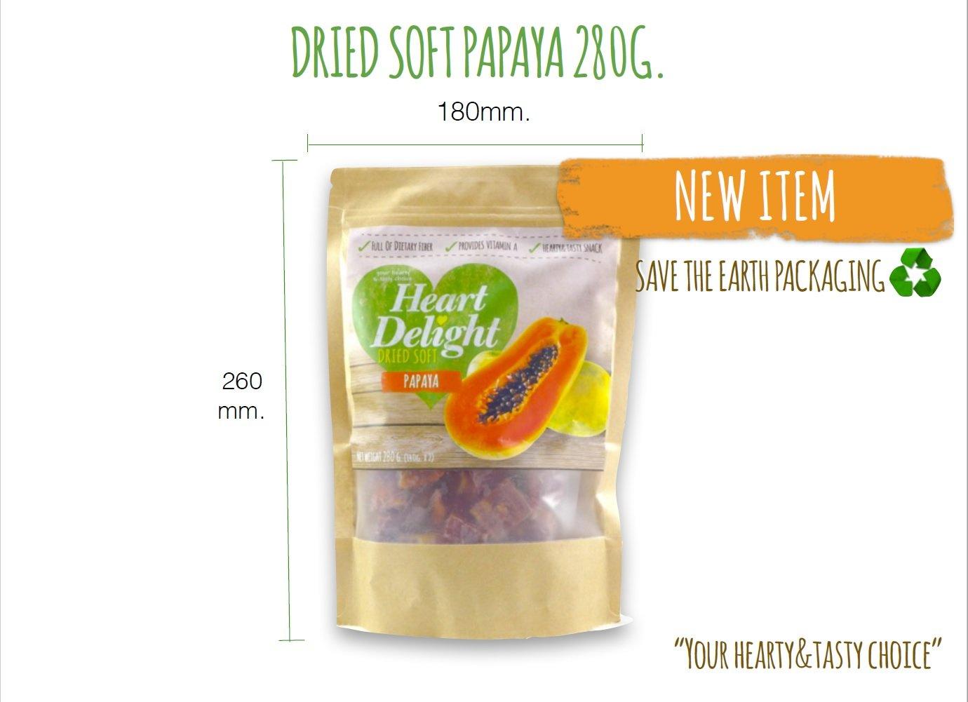 Heart DeLight Dried Soft Tasty Tropical Papaya Fruit 280 gr. - 9.87 oz.
