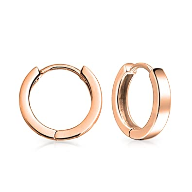 14c5db5d7fbae Simple Basic Thin Flat Huggie Hoop Kpop Earrings For Women For Men Hinge  Shiny Rose Gold Plated 925 Sterling Silver
