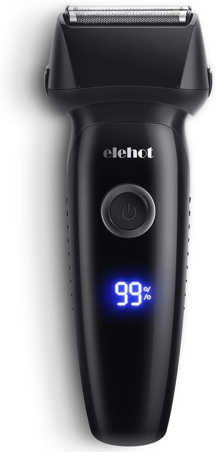 ELEHOT Afeitadora Elétrica de lámina Máquina de Afeitar para Hombre Recargable de Cabezales Flotantes con Pantalla LCD Hojas desmontables Limpiables