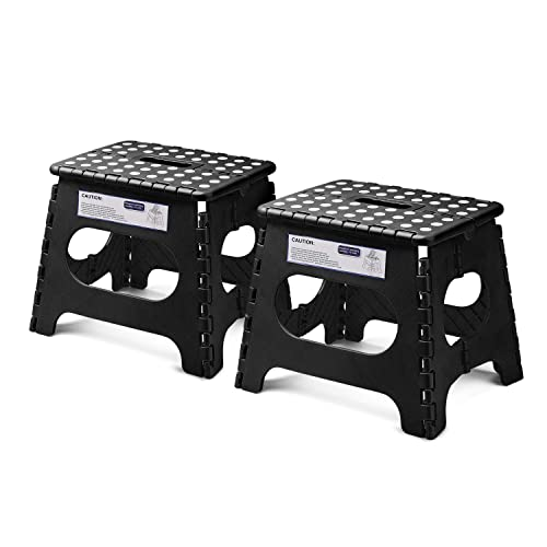 "Acko Folding Step Stool Lightweight Plastic Step Stool - 11"" Height - 2 Pack - Foldable Step Stool for Kids and Adults,Non Slip Folding Stools for..."