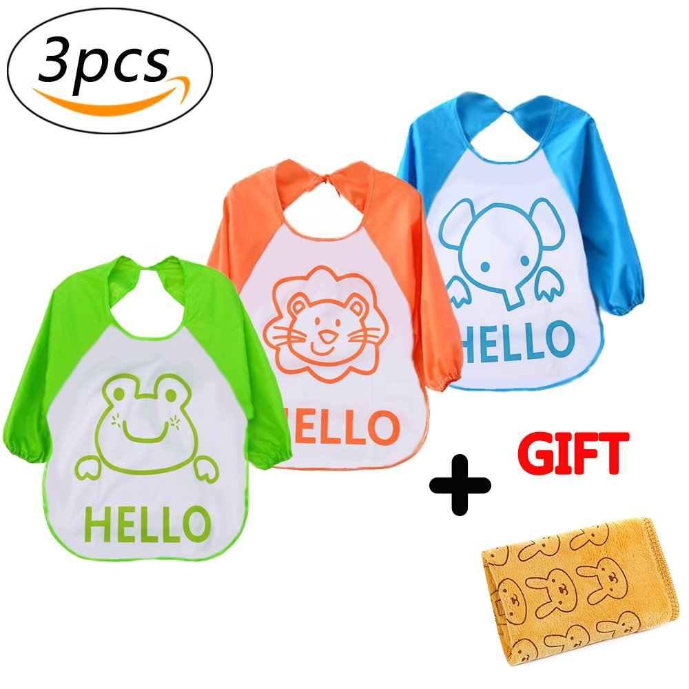 Baby Apron Overclothes Waterproof Sleeved Bib Baby Feeding Eating Playing Aprons Children's Art Workwear (3pcs) Ronoa