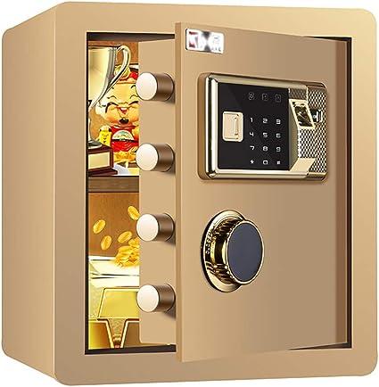 Caja Fuerte de Seguridad,36x32x40cm Reconocimiento de Huellas Dactilares Electrónica de Caja de Seguridad, Oficina de Hotel Joyas Comerciales Uso de Efectivo Almacenamiento,Gold: Amazon.es: Oficina y papelería