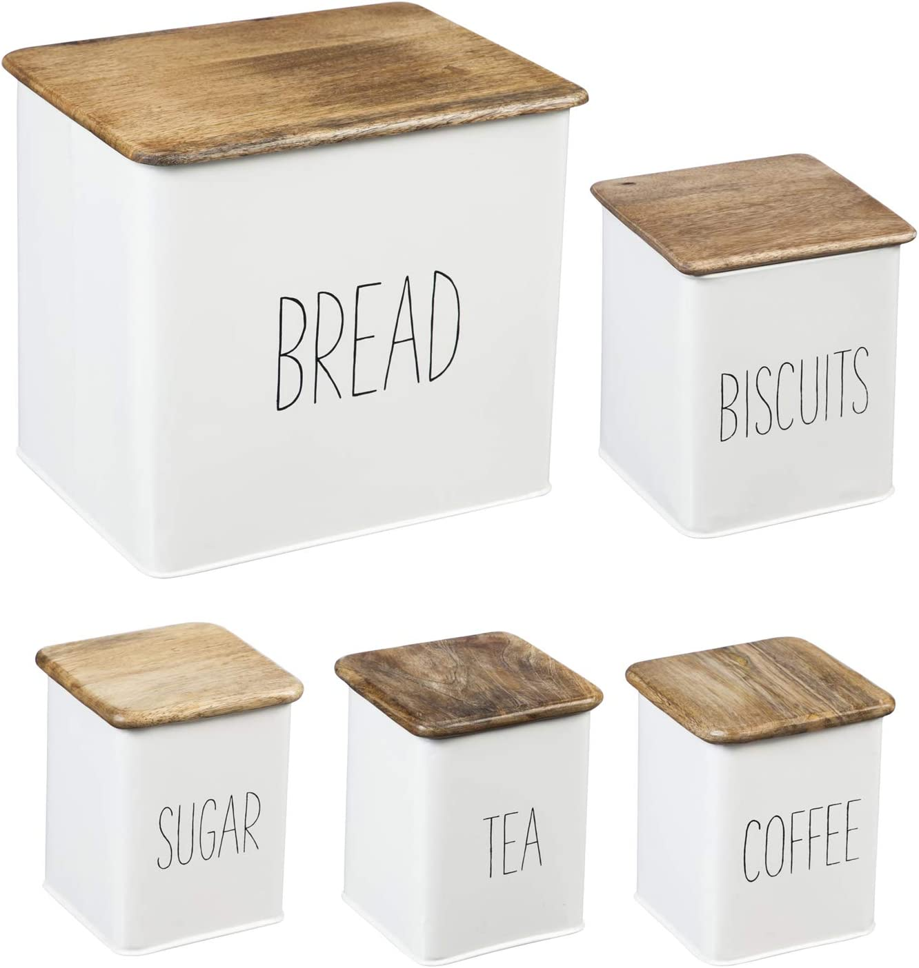 Amazon Com White 5 Piece Kitchen Canister Set 12 X 9 X 11 Inches Kitchen Dining