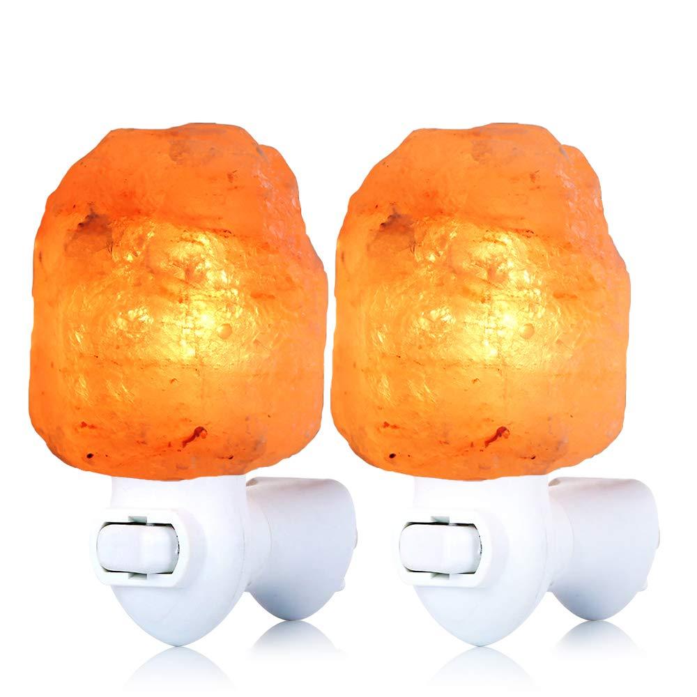 Pursalt Original Himalayan Salt Lamp, Hand Carved Salt Crystal Night Light for Air Purifying, Bedroom Bathroom Decoration and Lighting, 2 Pack