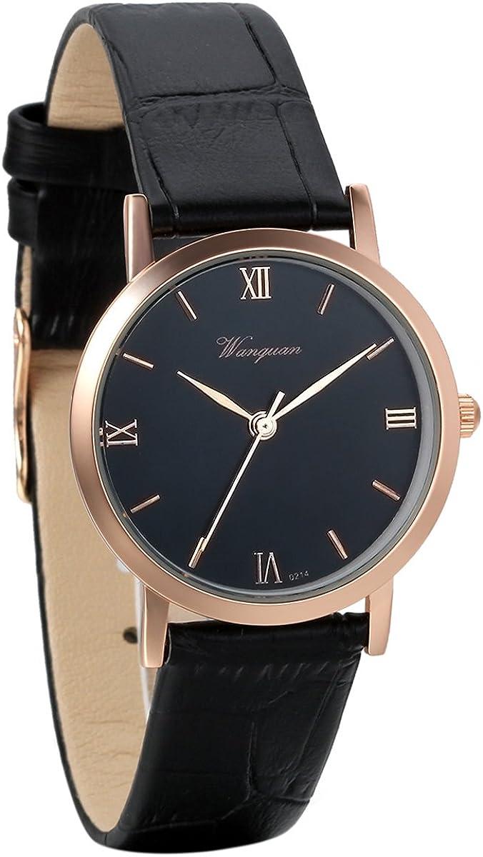 Avaner - Reloj de pulsera para hombre con números romanos de cuarzo analógico en tono oro rosa y correa de piel negra