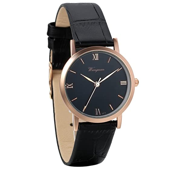 Avaner Women Elegant Rose Gold Tone Roman Numerals Analog Display Quartz Black Leather Wrist Watches