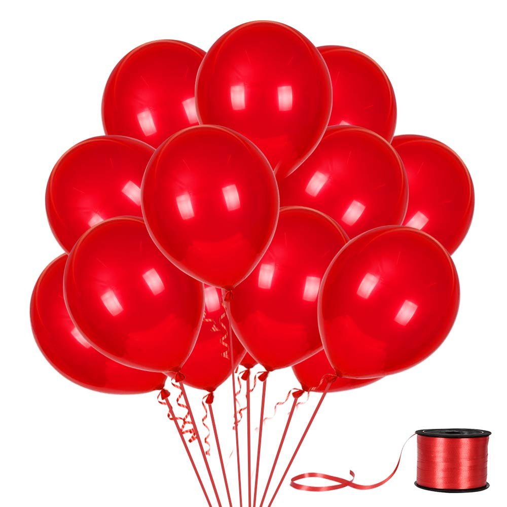 100Pack Red Balloons, 12inch Red Latex Balloons Premium Helium Quality Red Balloons for Party Supplies and Decorations(with Red Ribbon) …