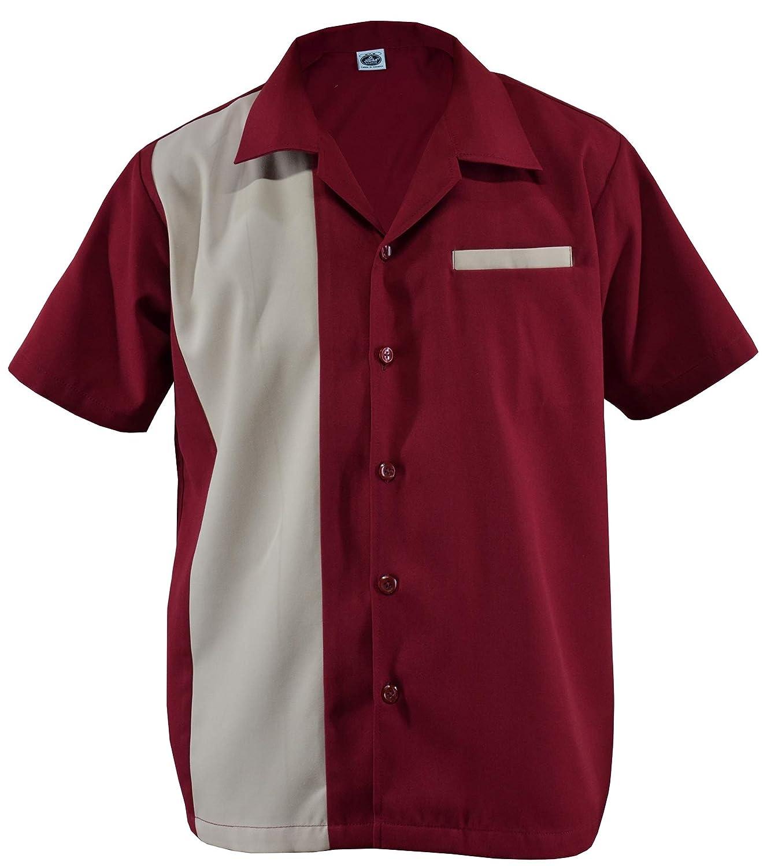 Rockabilly D660 - Camisa de manga corta para hombre (dos tonos), diseño retro beige/azul M: Amazon.es: Ropa y accesorios