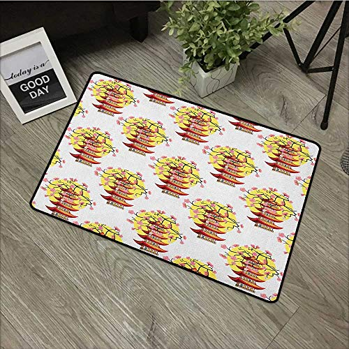 Children's mat W31 x L47 INCH Ancient China,Chinese Pagoda Illustration in Lively Colors with Sakura Cherry and Sunset, Multicolor Our bottom is non-slip and will not let the baby slip,Door - Chinese Tibetan Carpet