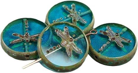 Bird Coin Bead 6 Beads Blue Turquoise with Dark Bronze Wash 12mm Czech Glass Beads