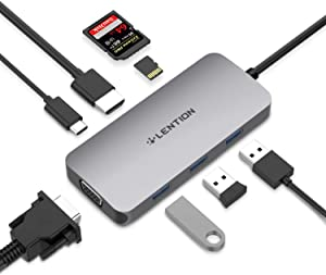 LENTION USB C Hub with 4K HDMI, VGA, SD/Micro SD Card Reader, 3 USB 3.0, Type C Charging Adapter Compatible 2020-2016 MacBook Pro, New Mac Air/Surface, Chromebook, More (CB-CE55, Space Gray)