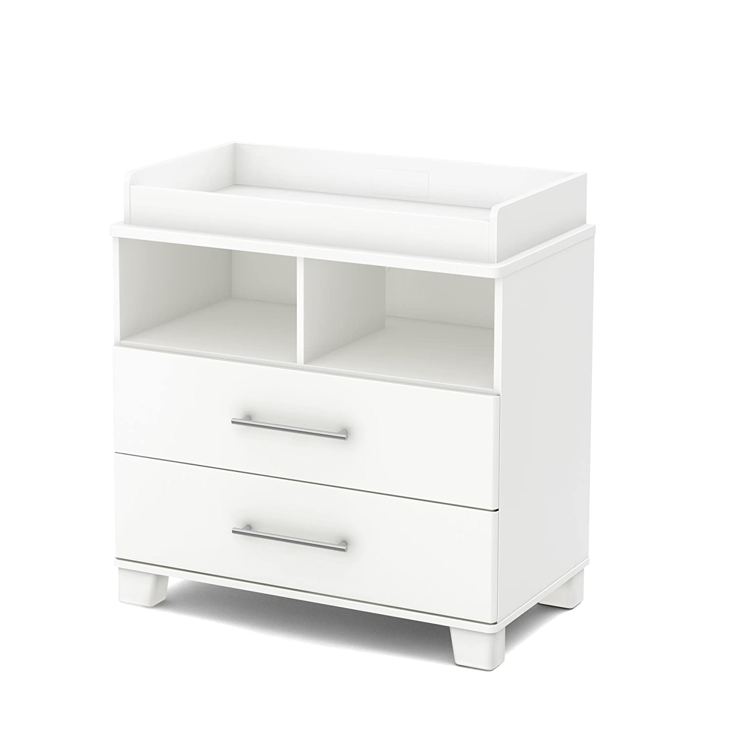 South Shore Cuddly Changing Table with 2 Drawers and open Storage Space, Pure White