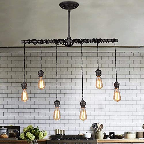 Jiuzhuo Industrial Brushed Black Metal 6 Hanging Bulb Light Vintage Pendant Ceiling Light