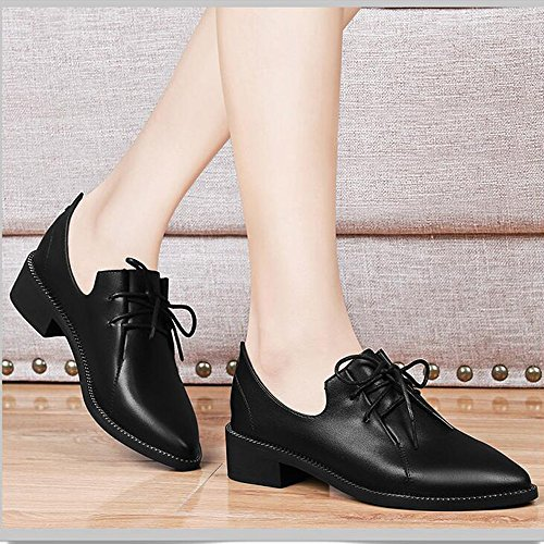Sandals PU Womens Shoes Chunky Heel Pointed Toe Female Leisure for Casual Office Career Black White Stylish/comfortable (Color : White, Size : EU36/UK4/CN36) Black